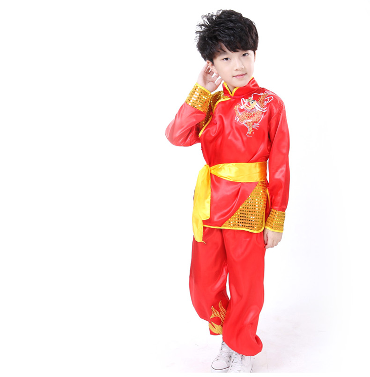 kung fu girls clothes boy dance chinese costume red Children Traditional Wushu Uniform Suit for Kids Boys Girls Performance Set