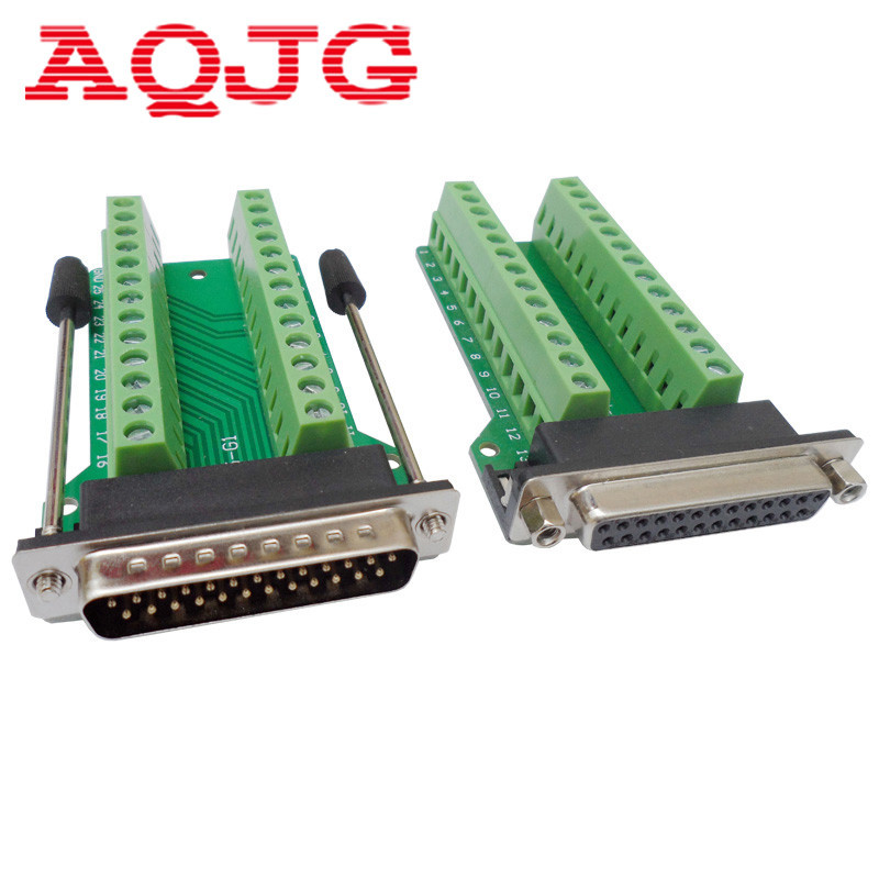 D-SUB DB25 Male 25Pin Plug Breakout PCB Board 2 Row Terminals Connectors DB25 Female 25pin Jack AQJG d sub connectors db25 25pin female adapter board rs232 serial to terminal signal module