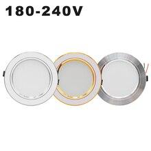 AC 220 В светодиодный светильник, золотистый, серебристый потолочный светильник, Круглый встраиваемый 5 Вт 9 Вт 12 Вт 15 Вт 18 Вт Светодиодный светильник, белый/теплый белый светодиодный светильник