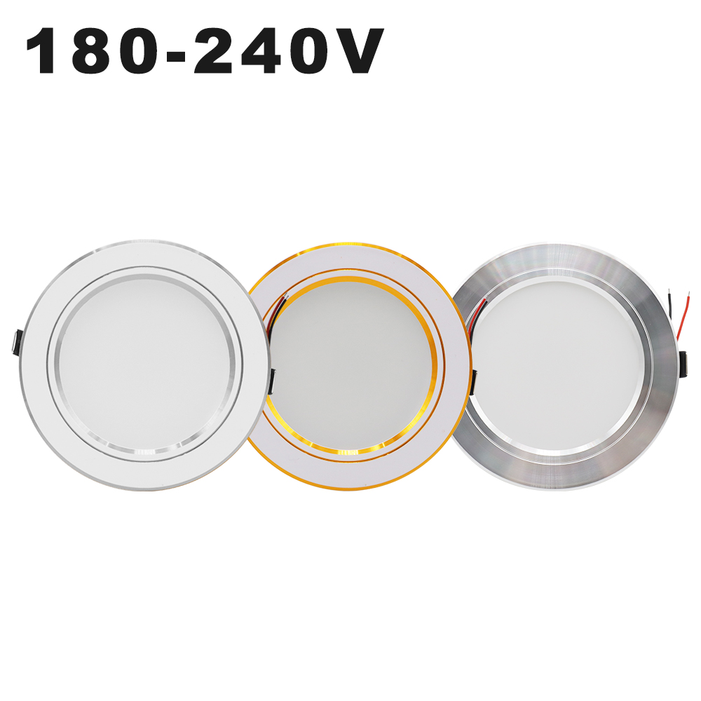 AC 220V LED Downlight Golden Silvery Ceiling Lamp Round Recessed 5W 9W 12W 15W 18W Led Light Bulb White/Warm white Down