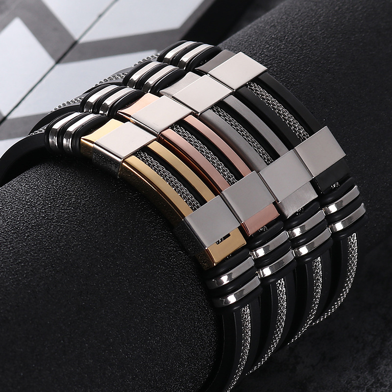 2018 Edelstahl Silikon Schwarz Armband Männer Armband Punk Stil Neue Design Männer Armband Einfache Gummi Charme Pulsera Hombre Mangelware
