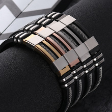 2018 Stainless Steel Silicone Black Bracelet Men WristBand Punk Style New Design Men Bracelet Simple Rubber Charm Pulsera Hombre cheap Fashion Bracelets Geometric NY-688 Toggle-clasps Classic Twisted Singapore Chain SANGSY Prong Setting Charm Bracelets All Compatible