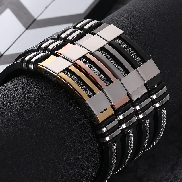 Simple Stainless Steel & Silicone Bracelet