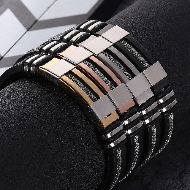 2018 נירוסטה סיליקון שחור צמיד גברים צמיד פאנק סגנון חדש עיצוב גברים צמיד פשוט גומי קסם Pulsera Hombre