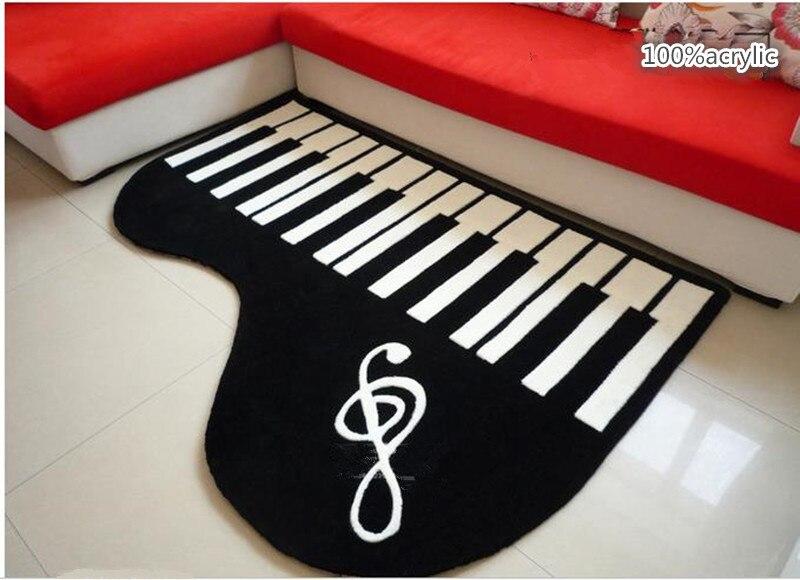 Acrylique piano en forme de tapis créatif chambre salon tapis table épais noir et blanc tapis enfants piano jouer tapete tapis