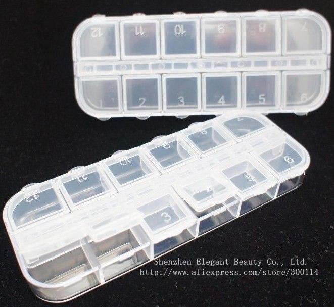 Отличный Чехол для ногтей 12 ячеек, пустые пластиковые бусины для ногтей, коробка со стразами, разделенная пластиковая коробка для хранения s, 600 шт./партия