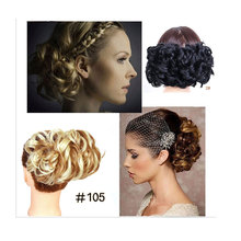 HidolA Scrunchie Elegant Beauty Hair Bun Chignon Two Plastic Comb Wave Curly Synthetic Easy Use