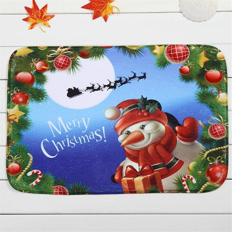 60*40CM Kids Merry Living Room Christmas Deer Door Mat Non Slip Santa Claus  Carpet