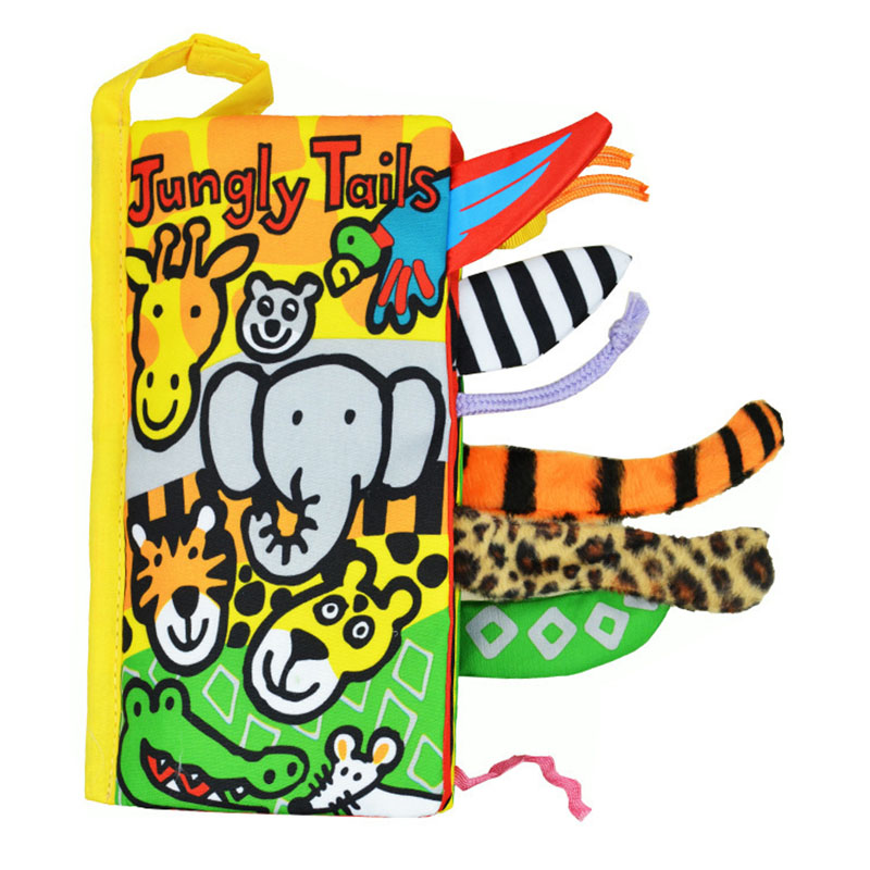 2018 new cartoon stereo animal tail ring paper baby cloth book early education toy parent-child interactive cloth book 8 models
