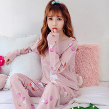 7ba6a97bc7  Lakysilk  2019 Spring Cotton O-Neck Pajama Sets Women Pink Cherry Rabbit  Print Female Sleepwear Girls Casual Loose Tops Pants