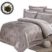 Silk Satin 100 Cotton Luxurious Bedding Sets 7pcs RU Size Discount Bedding Jacquard Damask Bedlinen Bedclothes
