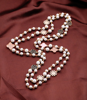 Rock On Rodeo Clover Necklace UK Full Pearl Beaded Chian Long Style Costume Jewelry
