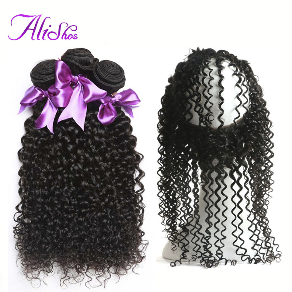Alishes Malaysia Curly Hair Bundles With Frontal Closure Pre Plucked 360 Lace Frontal With Bundles 4PCS