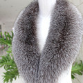 Real Silver Fox Fur Collar Scarf Winter Warm Scarf Collar for Women Coat Remove Genuine Big Size Scarves Real Fur Collars S#04