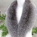 Bienes Silver Fox Cuello de Piel Bufanda de Invierno Bufanda Caliente Collar para Capa de las mujeres Eliminar Genuino Tamaño Grande Bufandas Cuellos De Piel Reales S #04