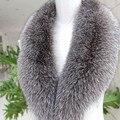 Real Silver Fox Fur Collar Inverno Cachecol Gola Cachecol Quente para Remover O Revestimento das mulheres Genuíno Tamanho Grande Lenços de Golas De Pele Reais S #04