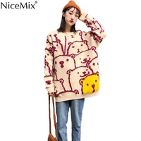 NiceMix Autumn Casual Knitted Cartoon Dogs Sweater Women Loose Long Pullovers Knitwear Korean Jumpers Pull Femme Hiver 2019
