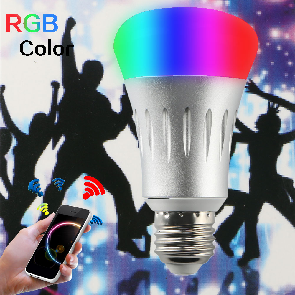 Smart Wireless 7W E27 RGB LED Lamp Bulb AC 85-265V Wifi APP Remote Control Light Dimmable For Home Bedroom 22 led wireless wifi app remote control lamp bulb dimmable e27 7w rgb smart light led lamp bulb ac 85 265v