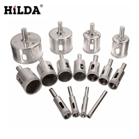 HILDA 15PCS Set 8 50mm Diamond Coated Core Hole Saw Drill Bits Tool Cutter For Tiles