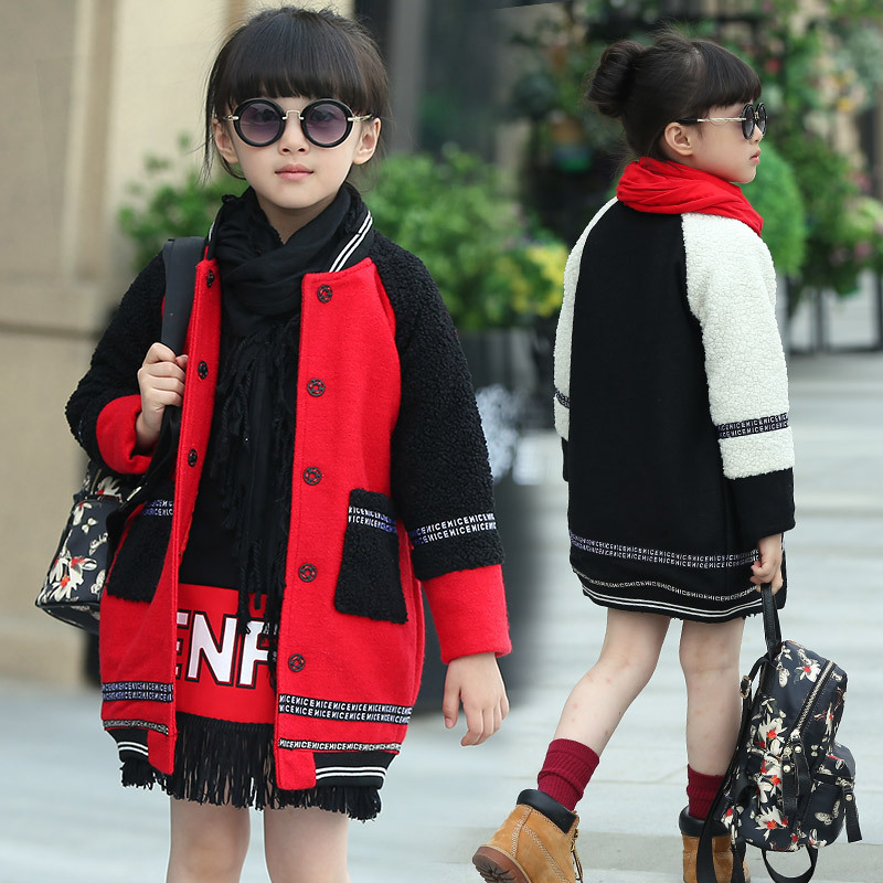 Children's Winter Stand Collar Single Breasted Patchwork Pockets Woolen Coats Girls Fashion Thick Warm Wool Blends Outwear Kids single breasted dual pockets denim skirt