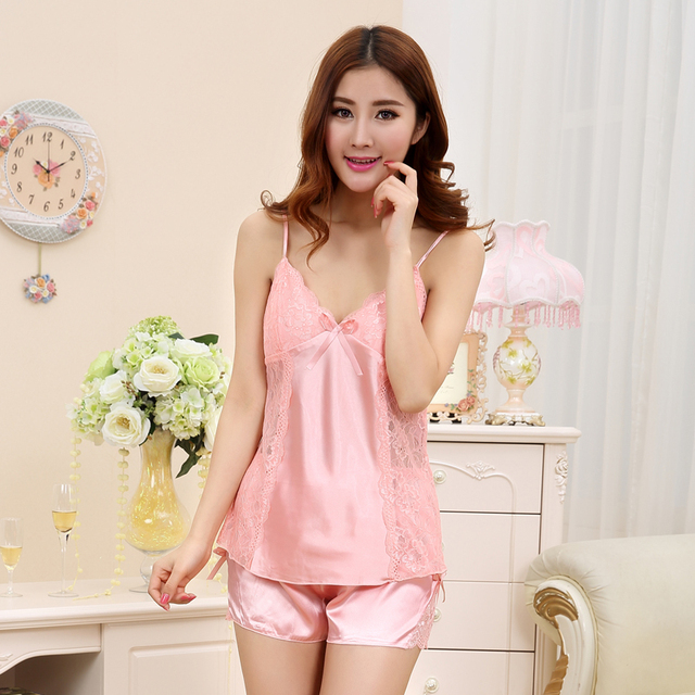 bf5f2c94286 Free shipping women lace sexy nightdress girls pajamas sets pink Braces  skirt Luxurious Sleepwear nightgown night dress Y108
