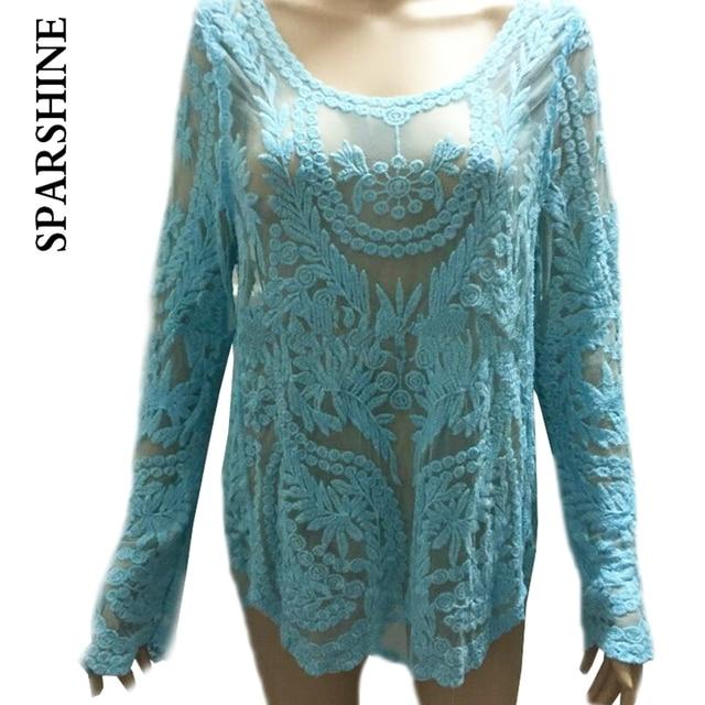 2016 Lace Blouse Large Size Women Pure Korean Caftans Loose Hook Flower Hollow Lace Shirt Long Sleeve head Lace Top