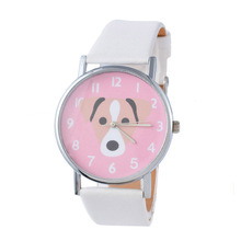 Cute Pet Canine Youngsters Fake Leather-based Woman Watch Quartz Informal Womens Wristwatches Color: white