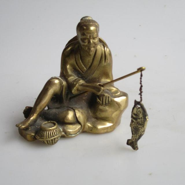 Wedding Decorations/Art Collection Chinese Brass Carved Old Fisherman  Fishing Statue /Home Decoration Metal