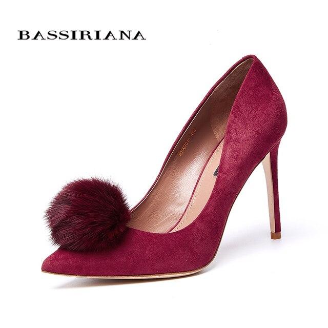 Bassiriana/Новинка 2018 г. модная Высококачественная обувь туфли-лодочки из натуральной кожи замши женские туфли на высоком каблуке кожаная подошва обувь черного и красного цвета, размер 35-40