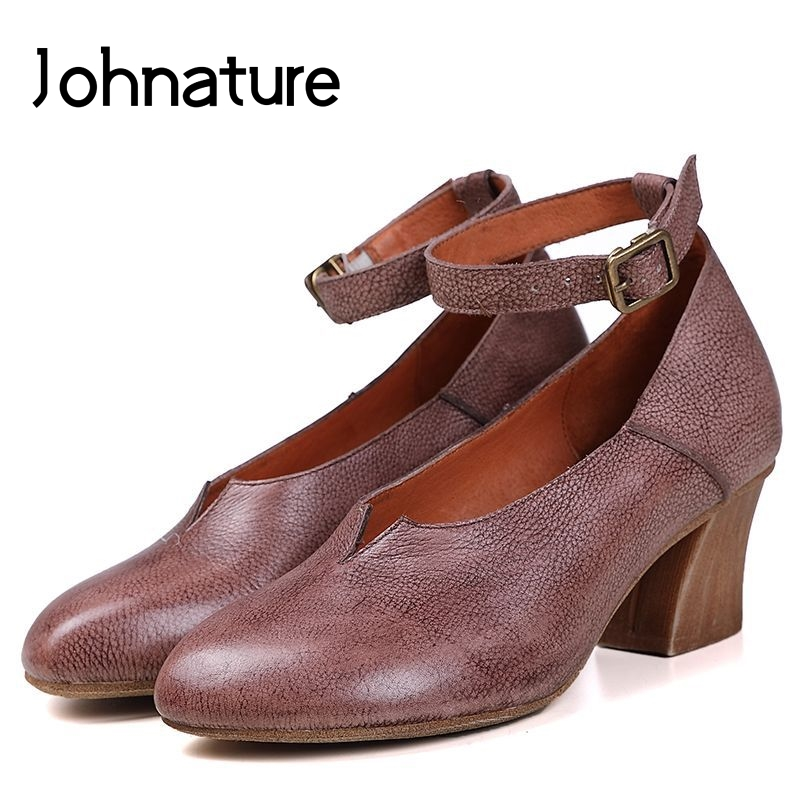 Johnature 2019 Spring Autumn Genuine Leather Round Toe Casual Buckle Strap Retro Med Women Shoes Loafers