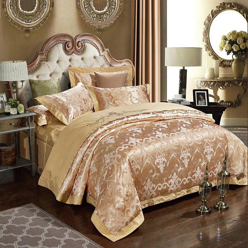 gold jacquard bedlinen bedding sets queen king size duvet cover setchina