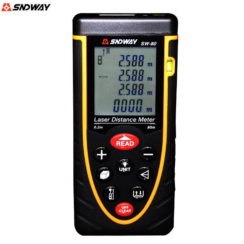 ФОТО SNDWAY SW 80 Handheld Laser Rangefinder Distance Meter 80M laser tape measure Bubble level