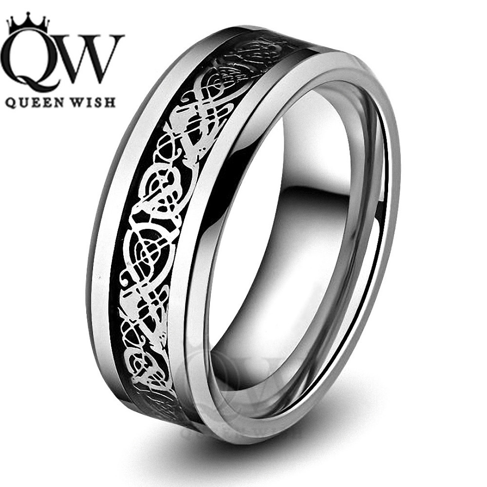 Celtic-Silver-Dragon-Black-Inlay-Flat-Comfort-Fit-Mens-Tungsten-Wedding-Bands