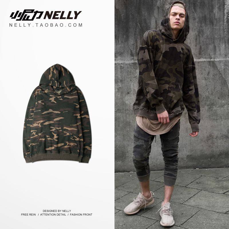 NELLY 2019 Autumn Winter Camouflage Hoodie Men's Long Sleeve Top Tactical Military Sweatshirt Hip Hop Wild Camo Sweatshirt(China)