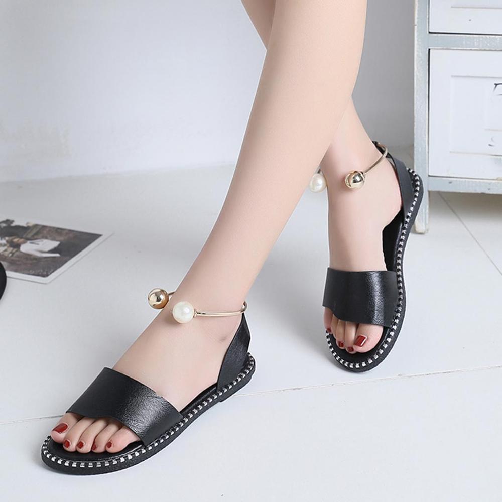 2019 Zapatos موهير الأزياء روما الانزلاق على النساء الصنادل الوجه يتخبط الصلبة جولة تو اللؤلؤ مشبك السببية الصنادل أحذية-في صنادل للسيدات من أحذية على  مجموعة 3