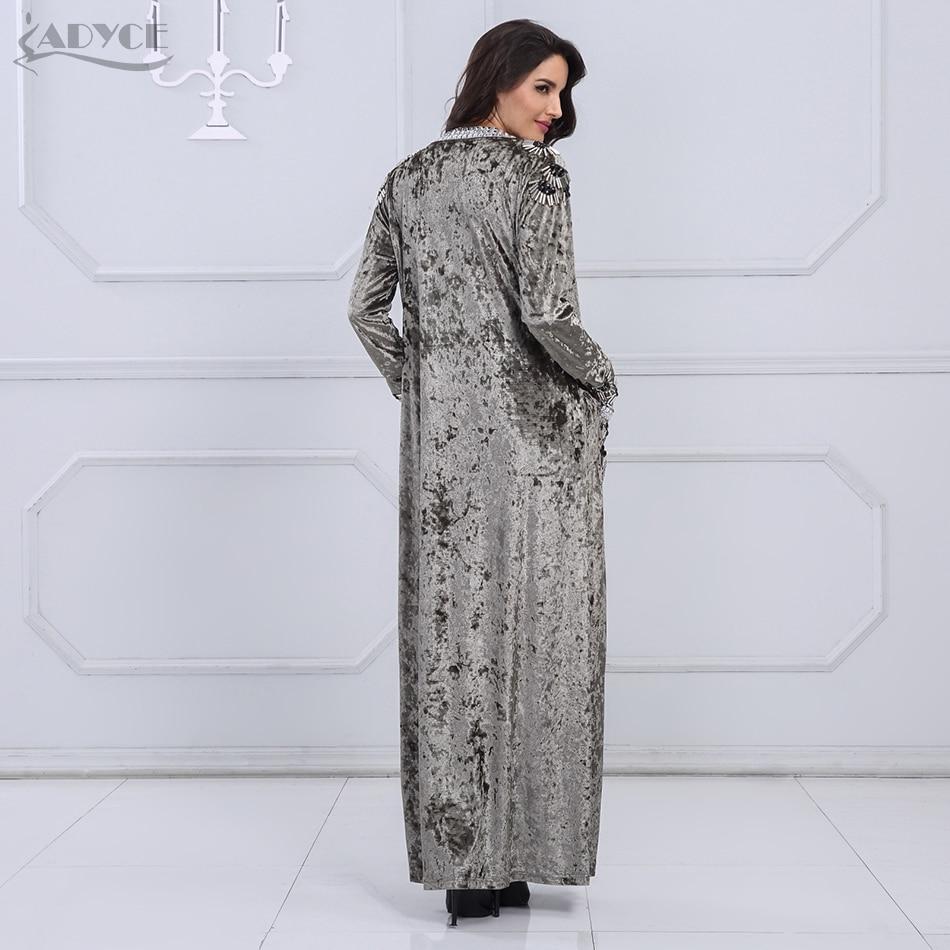 Adyce 2019 New Long Fashion Coat Women Gray Brown Long Sleeve Beading Club Coat Women Long Duster Celebrity Evening Party Coat