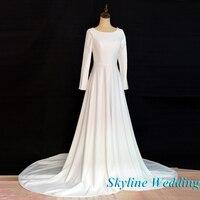 Vestido De Novia Train Wedding Dress New 2019 Lace Up Muslim Long Sleeves A line Bridal Dresses Robe de Marriage Wedding Gowns