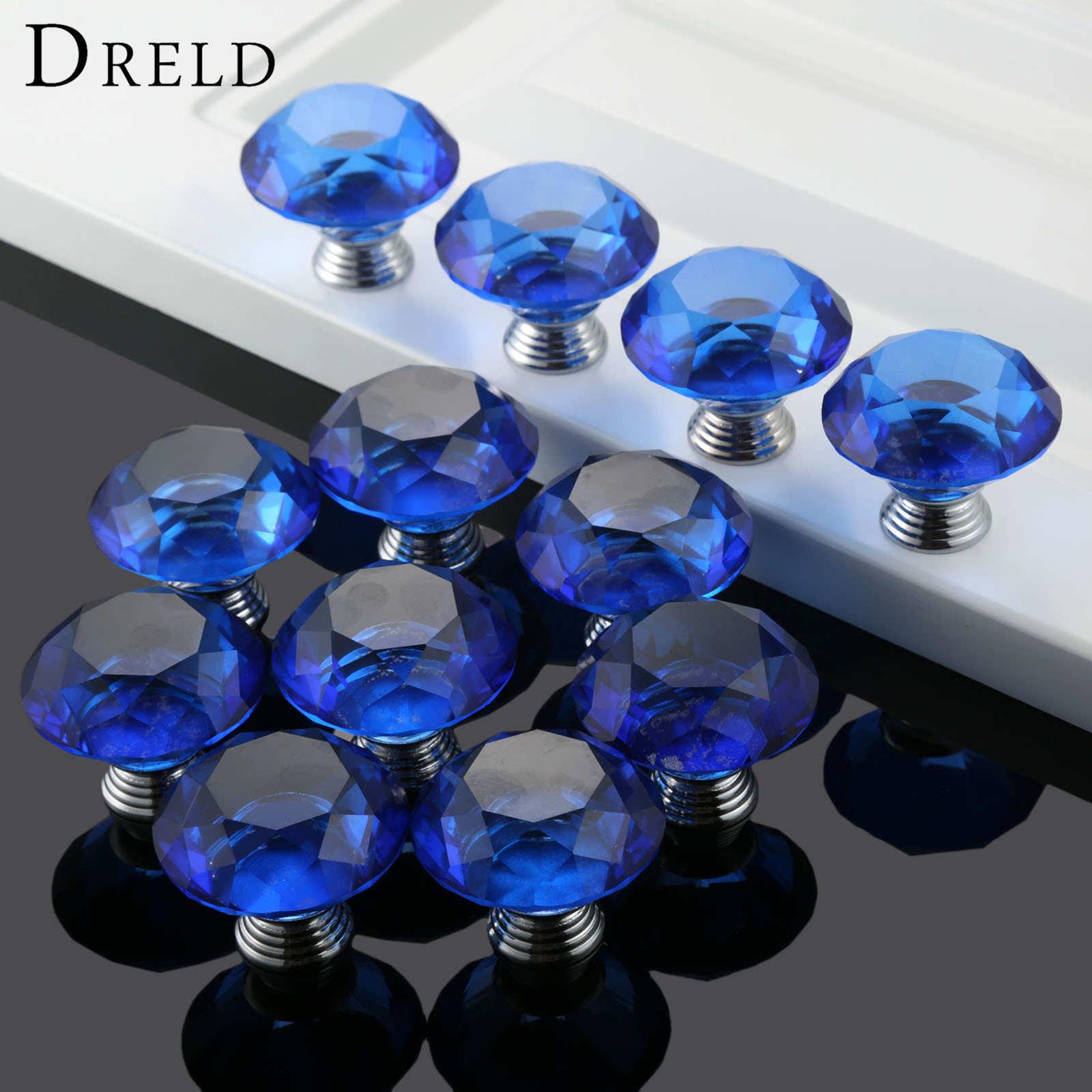 DRELD 12Pcs 40mm Blue Crystal Diamond Glass Pull Drawer Cabinet Knobs and Handles Door Furniture Handles with 22/25/30mm Screws