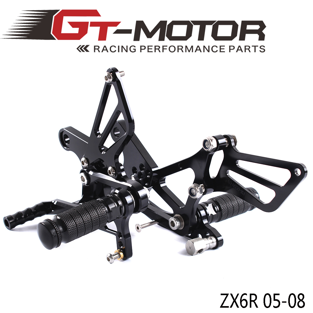 GT Motor Full CNC Aluminum Motorcycle Adjustable Rearsets Rear Sets Foot Pegs For KAWASAKI ZX6R ZX