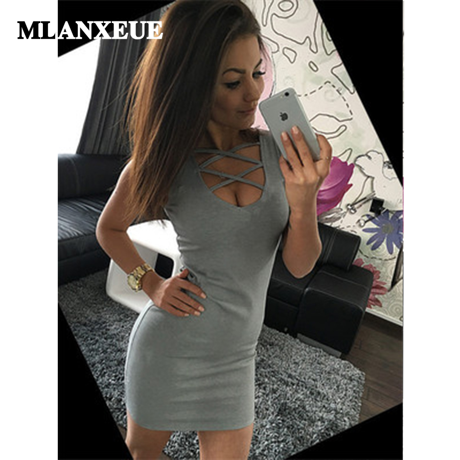 Deep V-Neck Hollow Out Sleeveless Sheath Knee-Length Solid Tunic Stretch Sexy Lady Tank Dress Women Club Party Ball Dress Female