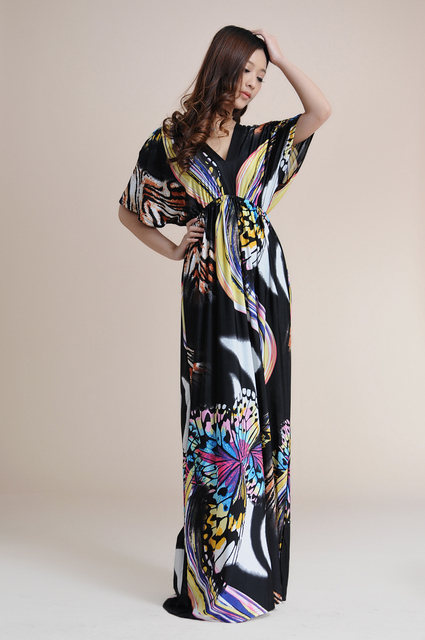 Vestidos Sexy Summer Women Beach Bohemian Dress V-Neck Black Butterfly Printing Maxi Dress Plus Size 5XL 6XL 7XL Boho Long Dress