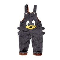 Baby Girl Jumpsuit Corduroy Plus Velvet Toddler Boys Overalls Thick Duck Cartoon Jumpsuit Children Winter Clothing Kids Pants