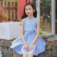 Girls Pure Cotton Cherry Vest Dress Summer Children Clothing Baby Girl Sleeveless A line Dresses Round Collar Short Sleeve Dress