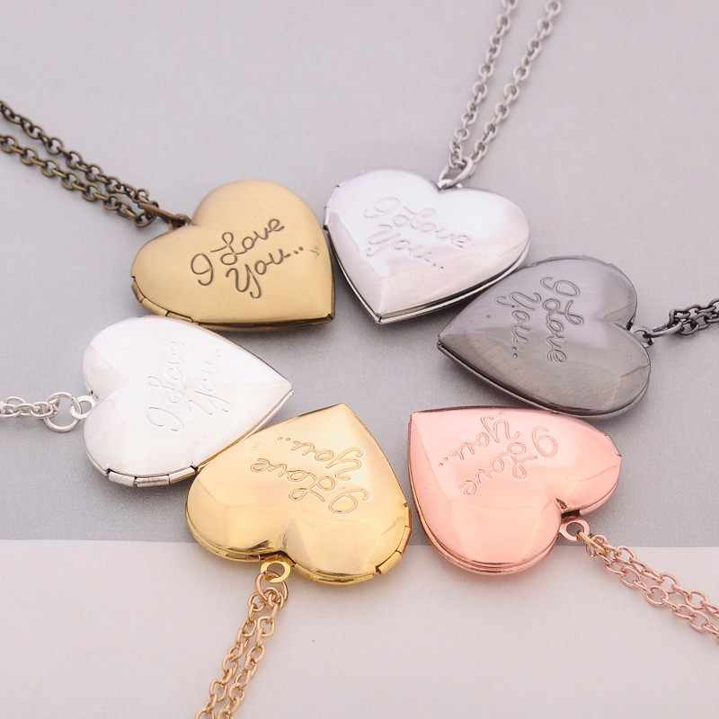 MINGQI Secret Medal DIY Heart-shaped Simple Love Forever Metal Necklace Vintage Pendant Couple Photo Frame Necklace Jewelry