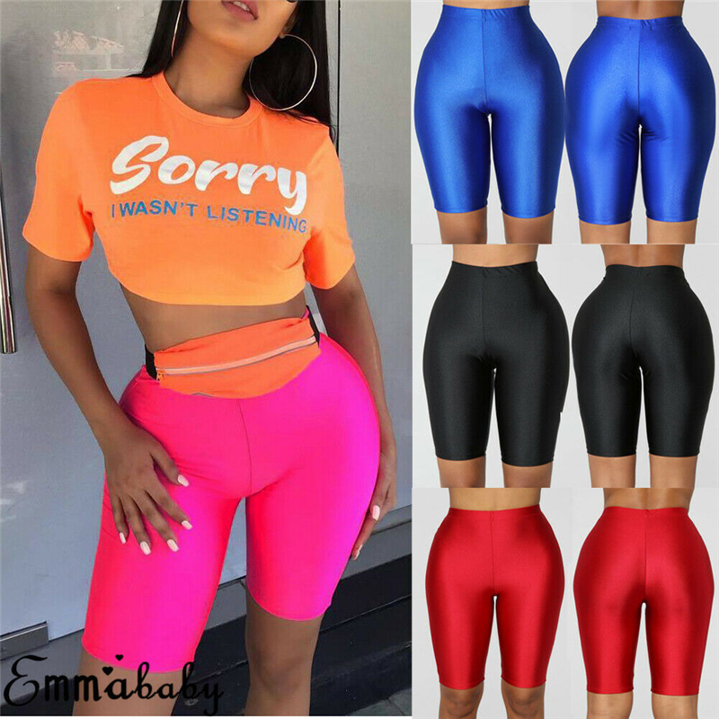 Women Stretch Biker Shorts Workout Elastic Shorts Spandex Knee Length High Waist Shorts For Women 610