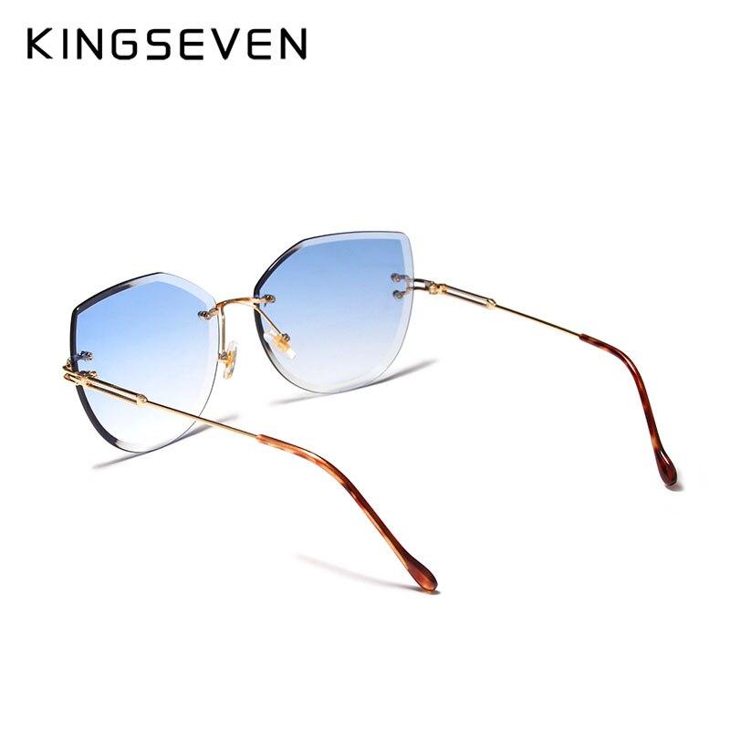 KINGSEVEN Luxury Rimless Cat Eye Sunglasses Women Gradient Color Sun Glasses Vintage Brand Designer Shades Eyewear Oculos N807 in Women 39 s Sunglasses from Apparel Accessories