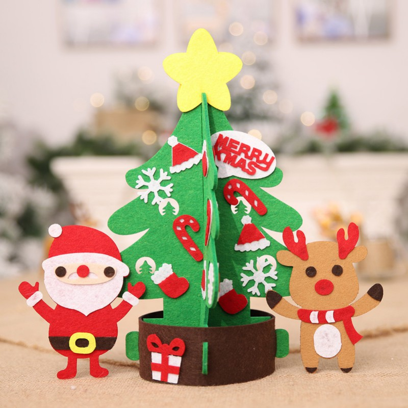 Picture Of Christmas Tree With Presents: 1pc Non Woven Christmas Tree With Cute Ornaments Children