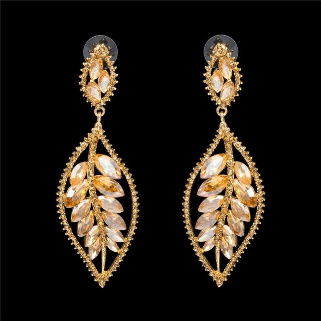 Moda mujer chapado en oro hollow hoja Hoja de oro regalo de la joyería pendientes de cristal pendientes de Diamantes CZ pendientes de cristal hueco
