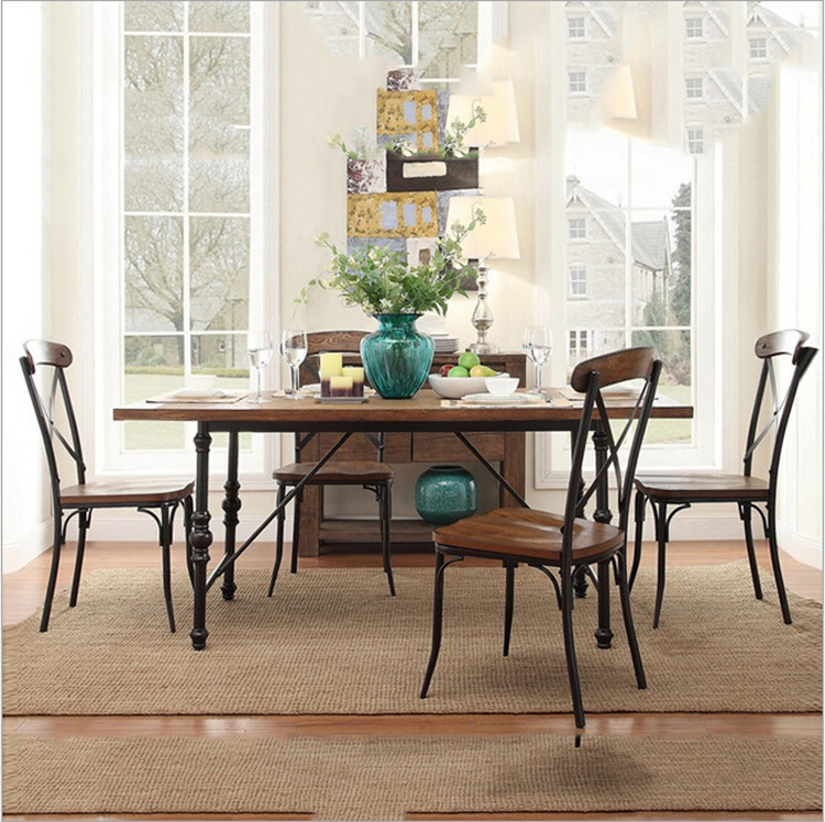 Factory direct American vintage wood dining tables and chairs iron dinette