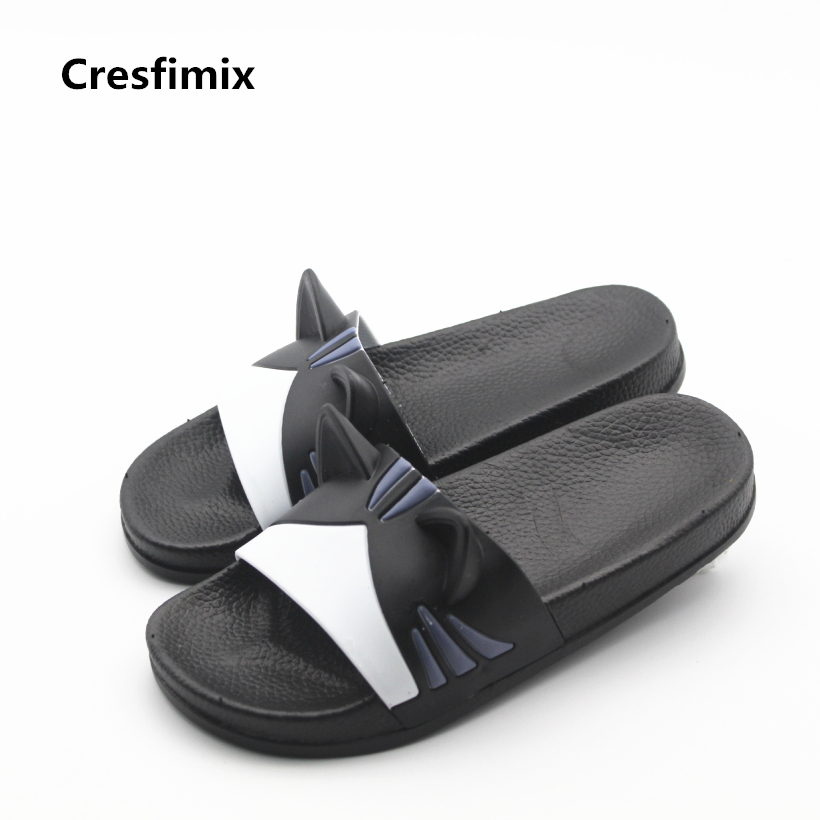 Cresfimix lady cute soft and comfortable slippers women fashion cat ear indoor slippers lady pink flat slides zapatos de mujer flat fur women slippers 2017 fashion leisure open toe women indoor slippers fur high quality soft plush lady furry slippers